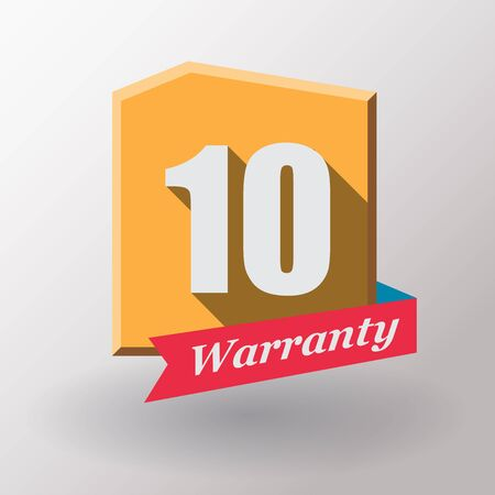 10 years: 10 years warranty label.Flat design. Stock Photo