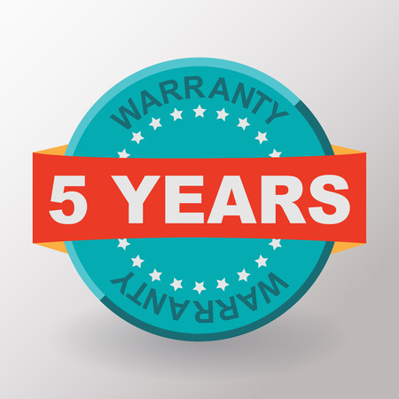 5 years: 5 years warranty label with ribbon. Flat design. Stock Photo