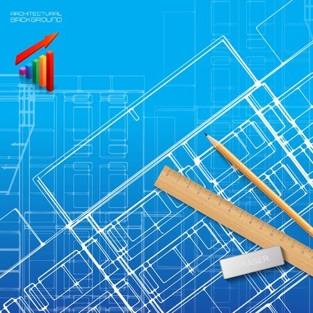 abstract building: Architectural background for architectural project, architectural brochure, technical project, architectural drawing.