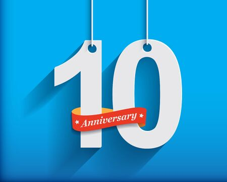 origami numbers: 10 Anniversary numbers with ribbon. Flat origami style with long shadow. Vector illustration