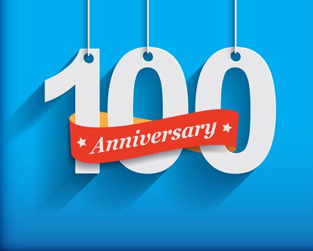 hundred: 100 Anniversary numbers with ribbon. Flat origami style with long shadow. Vector illustration