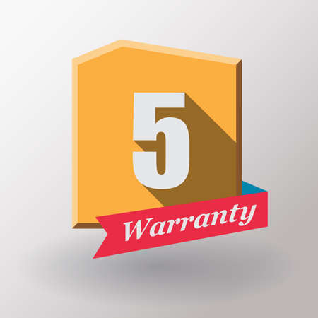 5 years: 5 years warranty label.Flat design. Stock Photo