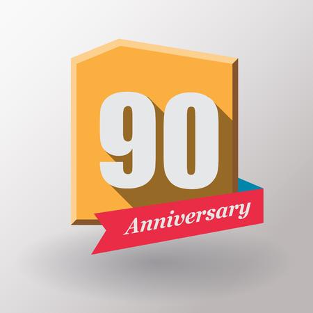 90: 90 Anniversary   label with ribbon.Flat design.