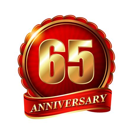 65th: 65 years anniversary golden label with ribbon. Stock Photo
