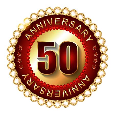 50 years anniversary: 50 Years anniversary golden label.