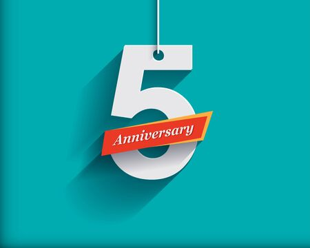 number 5: 5 Anniversary numbers with ribbon. Flat origami style with long shadow. Vector illustration
