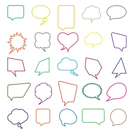 replica: Talk and think comics bubbles silhouettes set for communication.