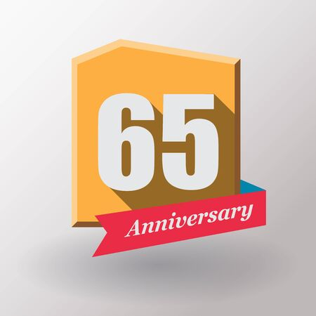 65: 65 Anniversary   label with ribbon.Flat design.