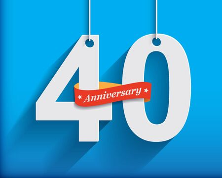 anniversary celebration: 40 Anniversary numbers with ribbon. Flat origami style with long shadow. Vector illustration