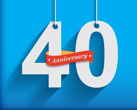 anniversaire: 40 numéros d'anniversaire avec du ruban. Appartement style origami avec une longue ombre. Vector illustration