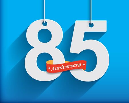 origami numbers: 85 Anniversary numbers with ribbon. Flat origami style with long shadow. Vector illustration