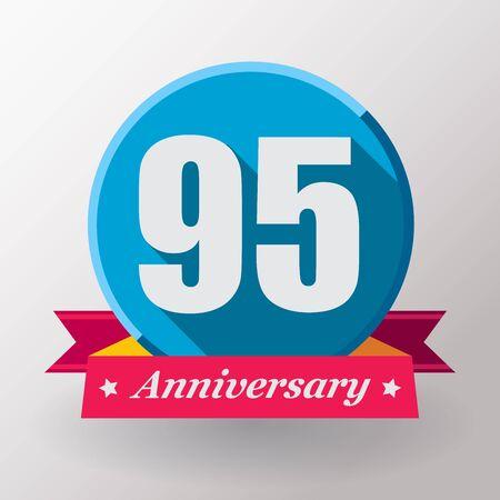 95: 95 Anniversary   label with ribbon.Flat design.