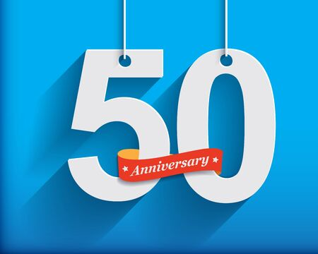 anniversary celebration: 50 Anniversary numbers with ribbon. Flat origami style with long shadow. Vector illustration