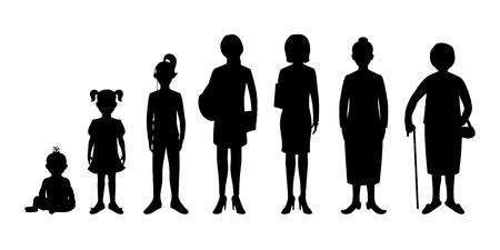silueta niño: Generación de la mujer desde bebés hasta adultos mayores. Bebé, niño, adolescente, estudiante, mujer de negocios, adulto y una mujer mayor. Imágenes realistas aislados sobre fondo blanco.