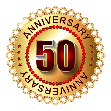 top 50 icon: 50 Years anniversary golden label.