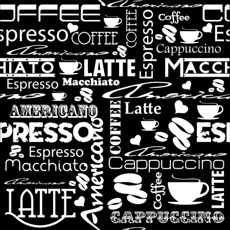 restaurant bar: Seamless coffee pattern.  Style for coffee bar or restaurant.