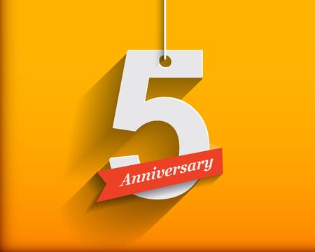 number five: 5 Anniversary numbers with ribbon. Flat origami style with long shadow. Vector illustration