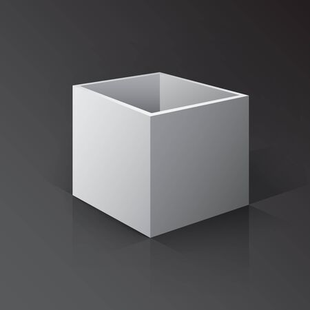 ebox: 3D Open Box Mockup. Box on white background with reflection and shadows.