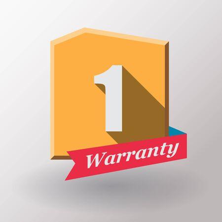 1 year: 1 year warranty label. Flat design.