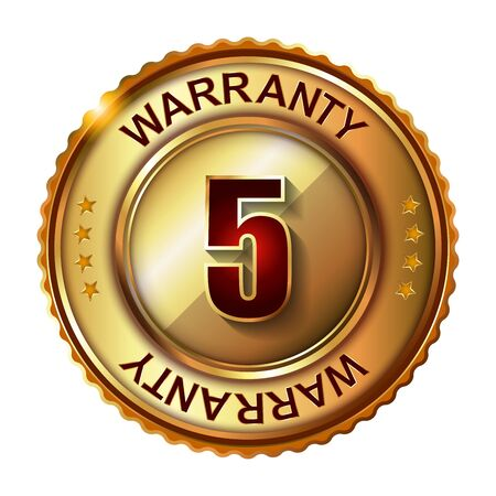 5 years: 5 years warranty golden label with ribbon.  Vector illustration. Stock Photo