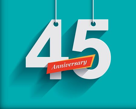 45th: 45 Anniversary numbers with ribbon. Flat origami style with long shadow. Vector illustration