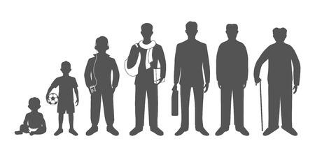 Génération d'hommes des nourrissons aux personnes âgées. Bébé, enfant, adolescent, étudiant, hommes d'affaires, homme adulte et senior. Des images réalistes isolé sur fond blanc. Banque d'images - 44549418