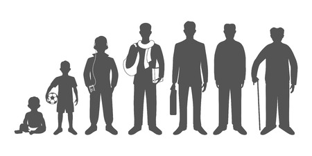 Generation of men from infants to seniors. Baby, child, teenager, student, business men, adult and senior man. Realistic images isolated on white background. Stockfoto