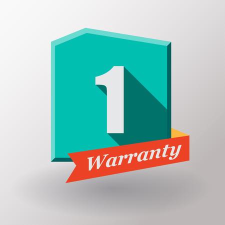 1 year warranty: 1 year warranty label. Flat design.