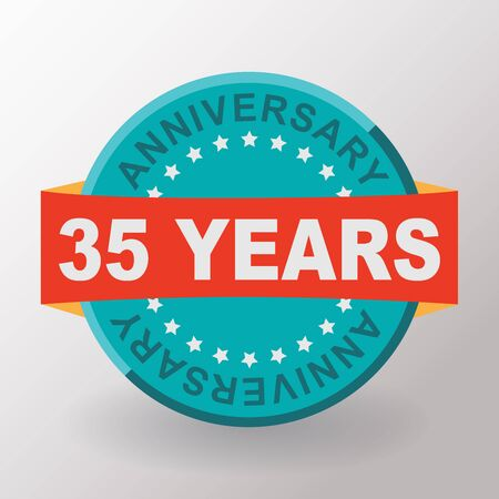35th: 35 Anniversary label with ribbon. Flat design.