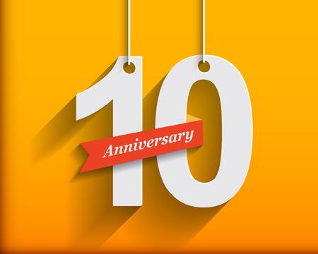 aniversario: 10 números de aniversario con la cinta. Origami plana stylen con una larga sombra. Ilustración vectorial Foto de archivo
