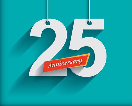 anniversary celebration: 25 Anniversary numbers with ribbon. Flat origami style with long shadow. Vector illustration