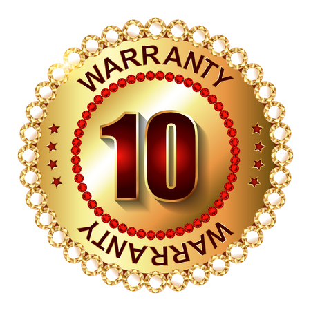 ten years jubilee: 10 years warranty golden label with ribbon.  Vector illustration. Stock Photo