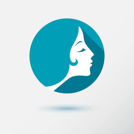 human face: The woman fashion icon or logo with flower. Flat design. Contour lines.