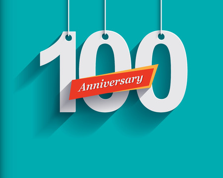 origami numbers: 100 Anniversary numbers with ribbon. Flat origami style with long shadow. Vector illustration