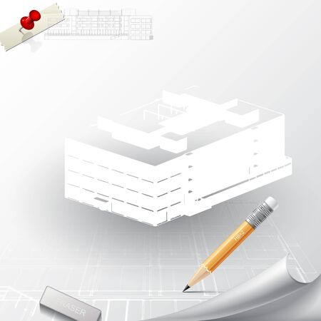 architectural: Architectural background for architectural project,  architectural brochure, technical project, architectural drawing. Stock Photo