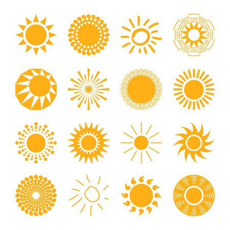 collection: Sun icons set for computing web and app. Stock Photo