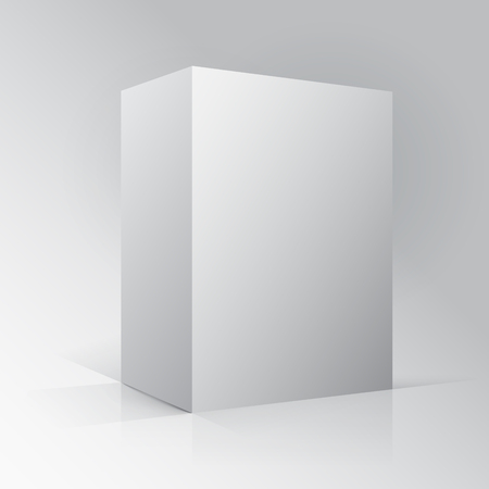 ebox: 3D Cube Paralellogram Mockup. Box on white background with reflection.