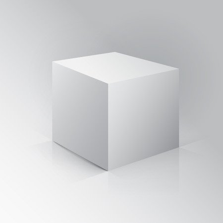 ebox: 3D Cube. Box on white background with reflection.