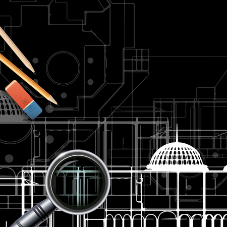 architecture drawing: Architectural background for architectural project,  architectural brochure, technical project, architectural drawing. Stock Photo