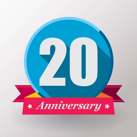 anniversaire: Étiquette 20 anniversaire avec un ruban. Design plat. Banque d'images
