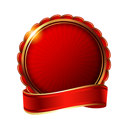 Empty golden label with ribbon. Stockfoto