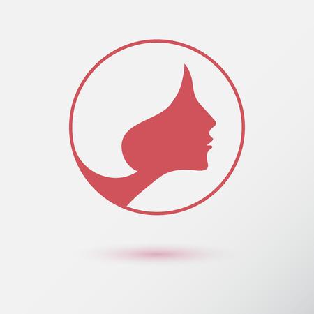 perfil de mujer rostro: El icono de la moda de la mujer o el logotipo con la flor. Diseño plano. Lineas de contorno. Foto de archivo