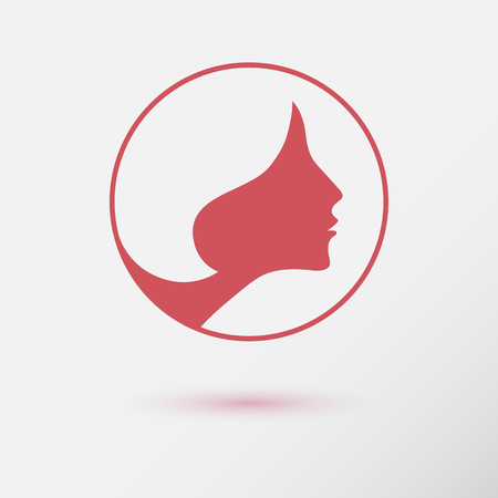 female face: The woman fashion icon or logo with flower. Flat design. Contour lines.