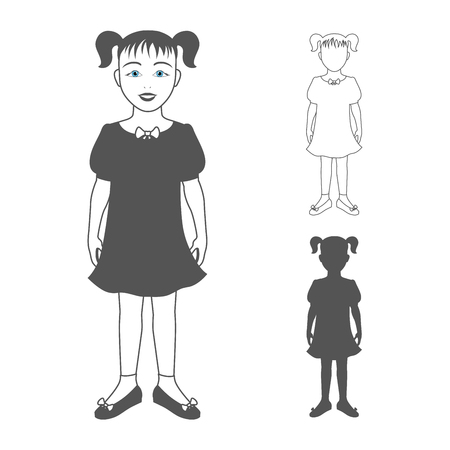 circular silhouette: Full length portrait of a small girl, standing and smiling, isolated on white background.