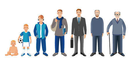 Generation of men from infants to seniors. Baby, child, teenager, student, business men, adult and senior man. Realistic images isolated on white background. Archivio Fotografico