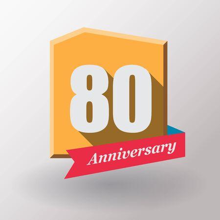 80: 80 Anniversary   label with ribbon. Flat design.