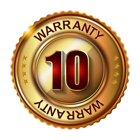 10 years: 10 years warranty golden label with ribbon.  Vector illustration. Stock Photo