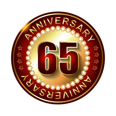 65: 65 Years anniversary golden label. Stock Photo