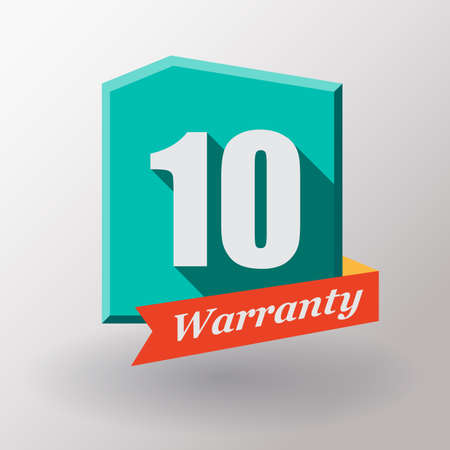 10 years: 10 years warranty label. Flat design. Stock Photo