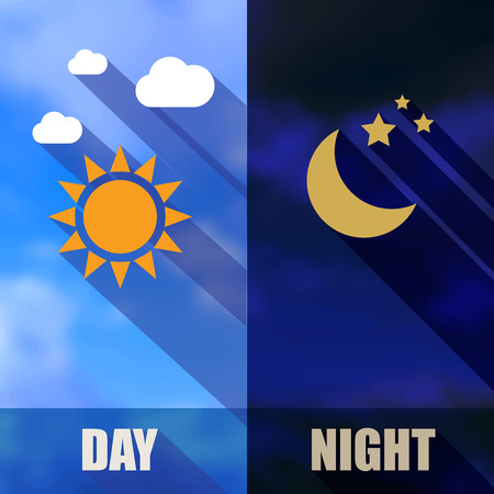 long night: Day and night banners with sun and moon in flat design with long shadows Stock Photo